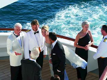 Staff and passengers onboard Crystal Cruises Ship