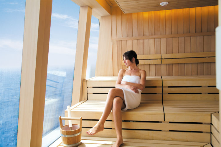 Relaxing in the sauna of Mandara Spa on NCL